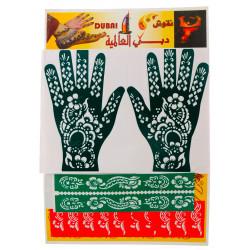 """Трафарет для рисования хной """"Dubai Top"""" 22.5×32.0 (в комплекте узоры как для рук"""