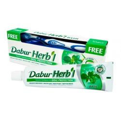Dabur Herb'l basil с базиликом 150g. Зубная щетка в подарок