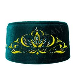 Тюбетей Булгар с бисером. цвет зеленый с золотыми нитками. арт. 3009