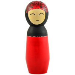 Игрушка - кукла деревянная мусульманка дочь в красном платье